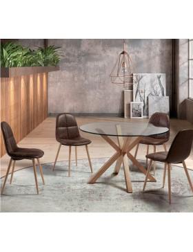 Mesa de comedor circular madera /cristal